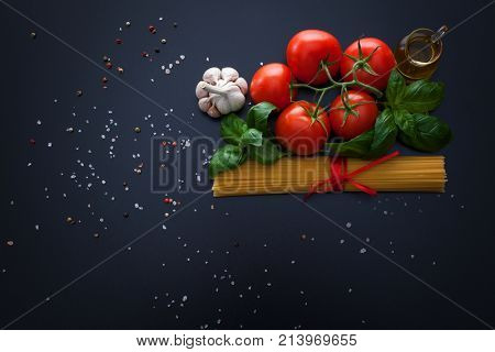 Spaghetti italian food with all ingredient - food and drink