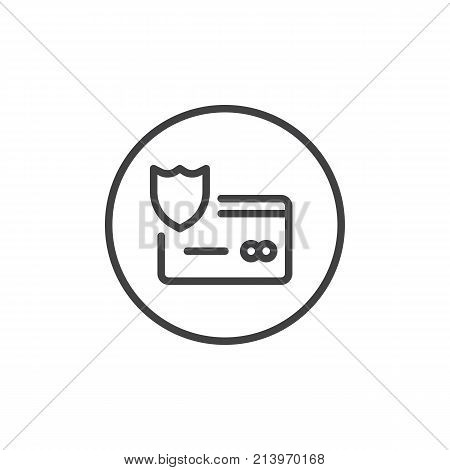 Protection credit card line icon, outline vector sign, linear style pictogram isolated on white. Secure payment symbol, logo illustration. Editable stroke