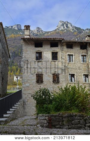 Derelict buildings in hill village of Erto in Friuli Venezia Giulia north east Italy. The village is famous locally for having being evacuated following the 1963 Vajont Dam disaster.