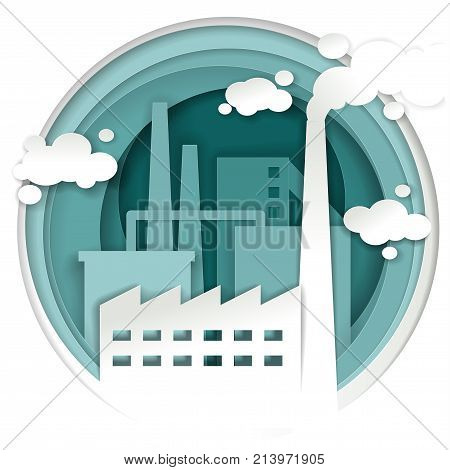Industrial plant concept vector illustration. Industrial and factory building with smoke stack background in paper art style.