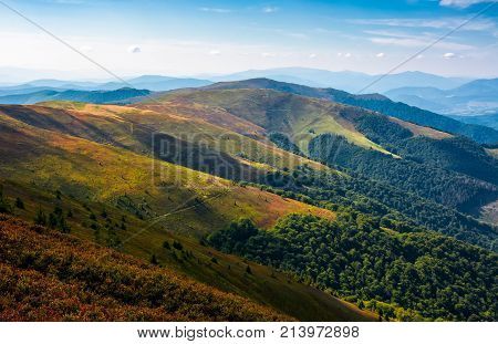 Rolling Hill Of Mountain Ridge In Late Summer