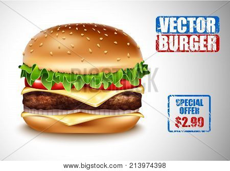 Vector Realistic Hamburger. Classic Burger American Cheeseburger with Lettuce Tomato Onion Cheese Beef on white Background. Fast Food menu price advertising. Beef meat and fresh organic vegetables