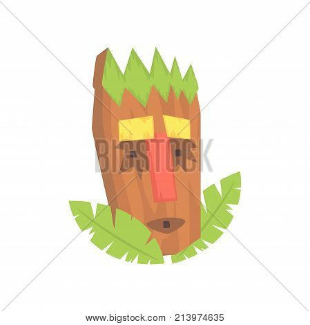 Tropical Tiki mask, tribal totem cartoon vector illustration isolated on a white background