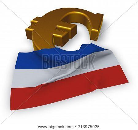 euro symbol and flag of schleswig-holstein - 3d illustration
