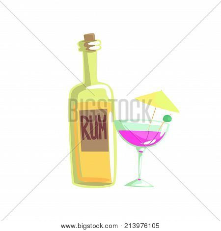 Rum bottle and cocktail glass with umbrella cartoon vector illustration isolated on a white background