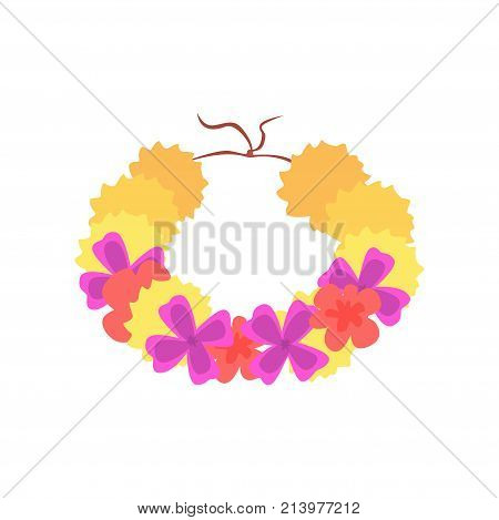 Hawaiian lei with bright colorful flowers, traditional necklace cartoon vector illustration isolated on a white background