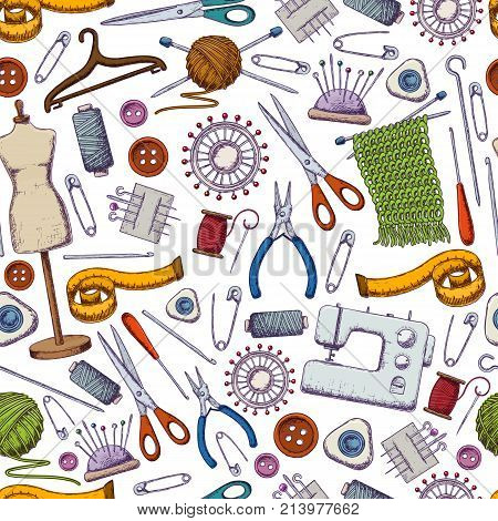 Seamless pattern of tools for needlework and sewing. Handmade equipment and needlework accessoriesy, colorful sketch illustration. Vector
