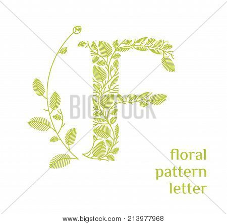 F letter eco logo isolated on white background. Organic bio logo from green grass leaves, plants for corporate identity of the company or brand on the letter F.