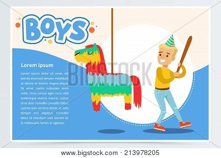 Happy boy breaking Pinata with a baseball bat, cute kid celebrating his birthday, boys banner flat vector element for website or mobile app with sample text