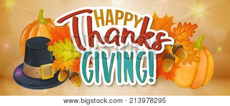Thanksgiving day greetings and autumn leaves, cartoon illustration. Thanksgiving Day background for decoration. Vector