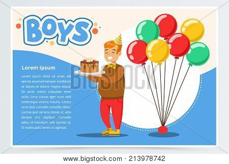Happy fat boy celebrating his birthday with cake, boys banner flat vector element for website or mobile app with sample text