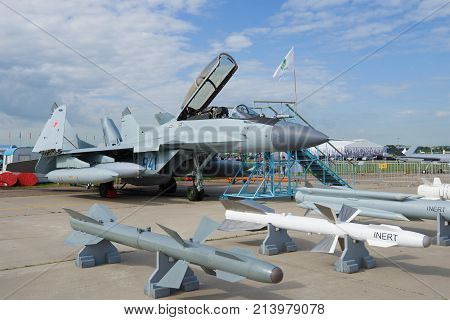 ZHUKOVSKY, RUSSIA - JULY 20, 2017: The Russian multipurpose fighter MiG-29K / KUB on the MAKS-2017 airshow