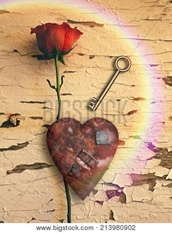 Surrealism. Red rose and rusted heart with metal patches. Golden key. 3D rendering.