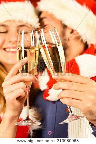 Mister And Missis Claus Hold Glasses Of Champagne, Close Up