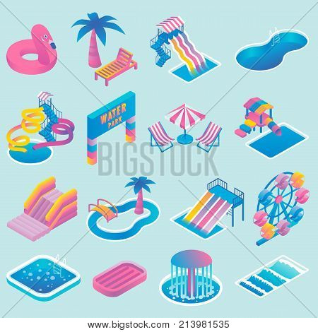 Water park vector colored icon set with different types of slides, swimming pools, ferris wheel, whirlpool bath, fountain. Aqua park isometric flat style design elements.