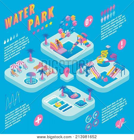 Water park vector isometric infographic with different types of slides, swimming pools, ferris wheel, whirlpool bath, fountains, relaxation and children areas. Aqua park concept infographics.