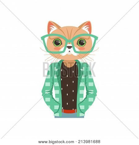 Cute fashion cat guy character in turquoise glasses and a jacket, hipster animal flat vector illustration isolated on a white background