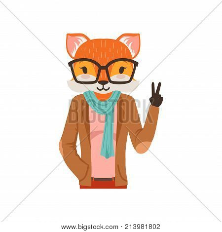 Cute fashion fox guy character showing victory sign, hipster animal flat vector illustration isolated on a white background