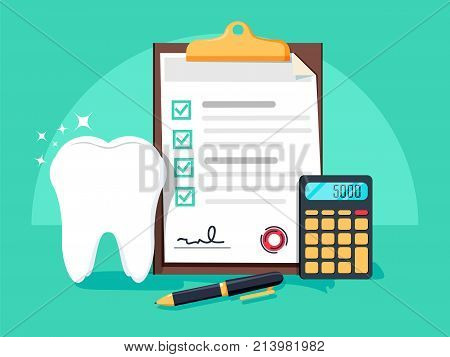 Dental insurance, dental care concept. Dental insurance form, tooth, calculator, pen flat design graphic elements, flat icons set for web banners, websites, etc. Vector illustration