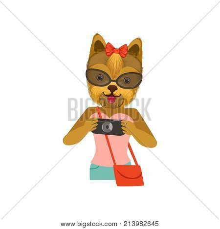 Yorkshire Terrier girl character dressed up in fashionable clothing with camera in its hands, fashion animal flat vector illustration isolated on a white background
