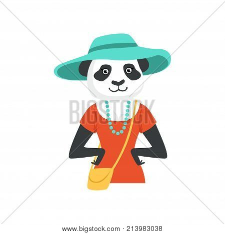 Cute fashion panda bear girl character, hipster animal flat vector illustration isolated on a white background