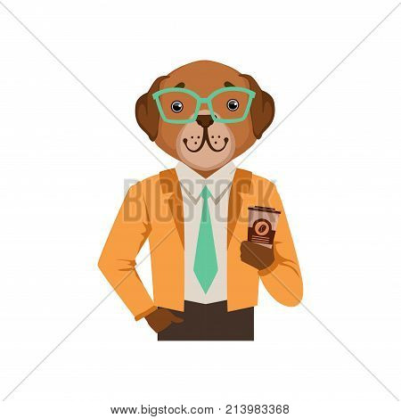 Cute fashion dog man character holding coffee cup, hipster animal flat vector illustration isolated on a white background
