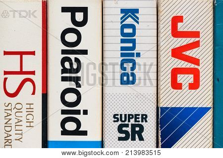 NOVI SAD SERBIA - NOVEMBER 6 2017: Various brands of VHS video cassettes wrappers. Video Home System analog video recording on tapes was released in Japan in late 1970s. Retro video technology illustrative editorial.