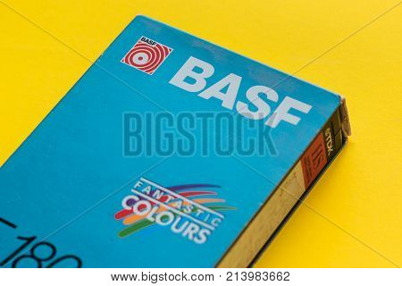 NOVI SAD SERBIA - NOVEMBER 6 2017: BASF VHS video cassette. Video Home System recording tape cassettes was released in Japan in late 1970s. Retro video technology illustrative editorial.
