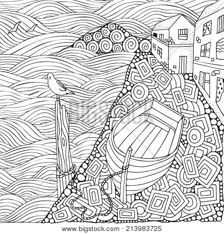 Seaside Promenade. Wooden Boat Lying On The Shore. Adult Coloring Book Page In Zentangle Style. Blac