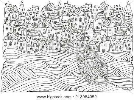 Wooden Boat Floating On The Waves. Seaside, Homes, Boat, Sea. Doodle Vector. Black And White Pattern