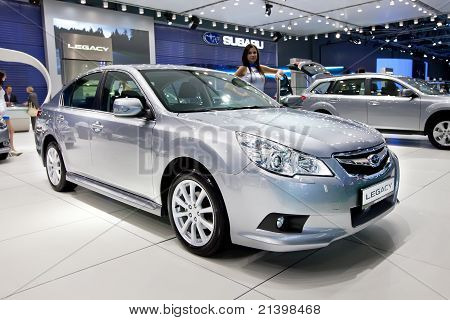 Moscow, Russia - August 25:  Grey Car Subaru  Legacy At Moscow International Exhibition Interauto On