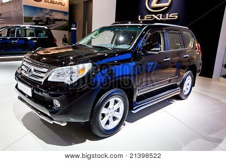 Moscow, Russia - August 25: Black Jeep Car Lexus Gx 460 At Moscow International Exhibition Interauto