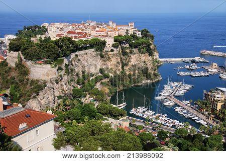 View Of Monaco City And Boat Marina Below In Monaco