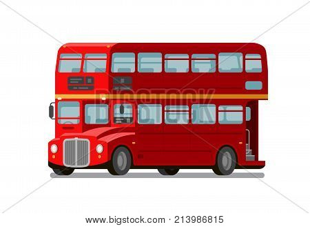 London double-decker red bus. England symbol. Vector flat illustration isolated on white background