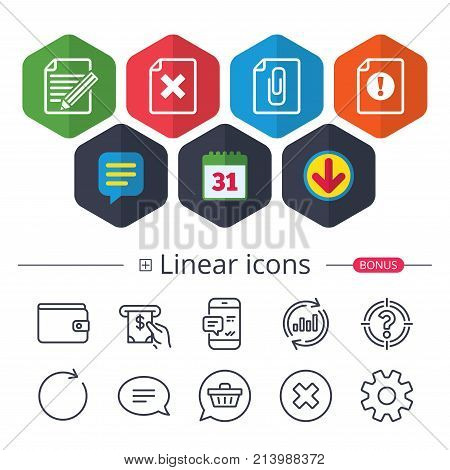 Calendar, Speech bubble and Download signs. File attention icons. Document delete and pencil edit symbols. Paper clip attach sign. Chat, Report graph line icons. More linear signs. Editable stroke
