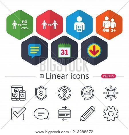 Calendar, Speech bubble and Download signs. Gamer icons. Board and PC games players signs. Player vs PC symbol. Chat, Report graph line icons. More linear signs. Editable stroke. Vector poster