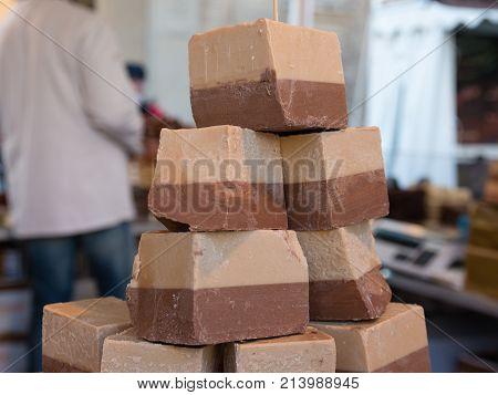 Sweet Blocks Of Cremino: Typical Italian Chocolate With Gianduja And Nougat