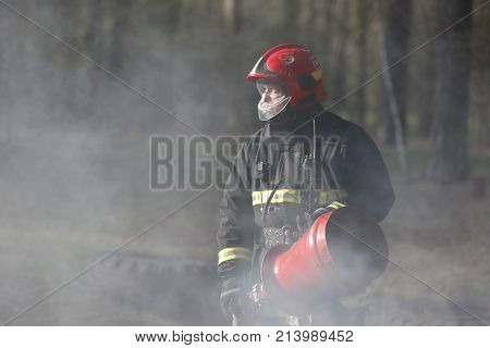 Belarus, Gomel City. Firefighting Of The Forest 06.04.2017.firefighter In Smoke When Extinguishing F