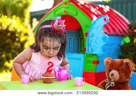 Baby toddler girl in outdoor second birthday party blowing candle on muffin. Teddy Bear as best friend, playhouse and tea set. Pink dress and crown.