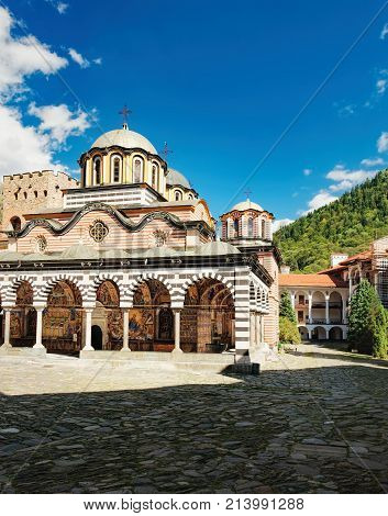 The Monastery of Saint Ivan of Rila better known as the Rila Monastery is the largest and most famous Eastern Orthodox monastery in Bulgaria. View from the yard