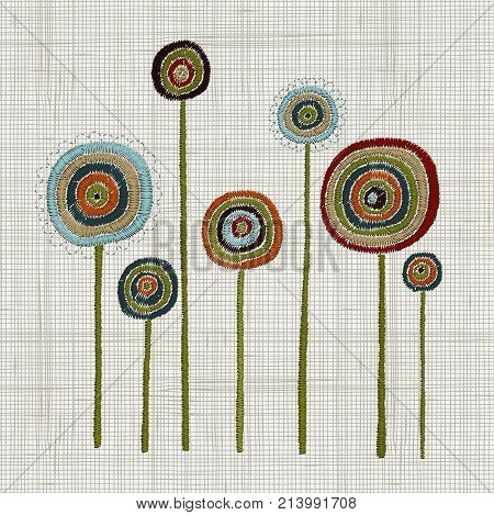Colorful Hoop Art. Hand Stitched Embroidery Of A Fantastical Flowers. Bold Stitches. Floral Wall Art