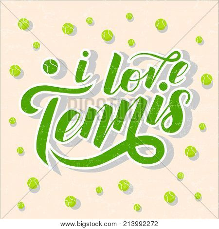 I love Tennis green lettering text with tennis balls on light pink background, vector illustration. Tennis calligraphy. Sport, fitness, activity vector design. Print for T-shirt and caps.