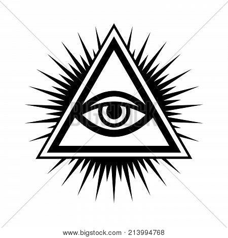 All-Seeing Eye of God (The Eye of Providence | Eye of Omniscience | Luminous Delta | Oculus Dei). Ancient mystical sacral symbol of Illuminati and Freemasonry.