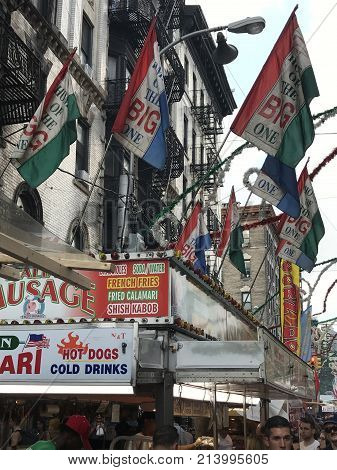 NEW YORK, NY - SEP 16: Feast Of San Gennaro at Little Italy in New York City, as seen on Sep 16, 2017. This was the 91st year of the feast.