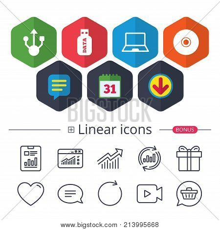 Calendar, Speech bubble and Download signs. Usb flash drive icons. Notebook or Laptop pc symbols. CD or DVD sign. Compact disc. Chat, Report graph line icons. More linear signs. Editable stroke