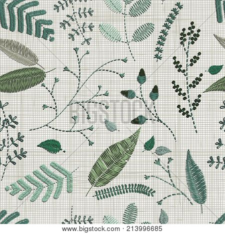 Seamless pattern. Embroidery floral elements leaves twigs berries flowers meadow. Floral wall art embroidery home decor. Set of hand drawn doodles design elements. Linen cloth texture. Colorful floral folk pattern