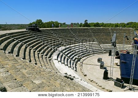 FAMAGUSTA, NORTHERN CYPRUS - JULY 27, 2017: Amphitheater of romans ruins of the city of Salamis, near Famagusta, Northern Cyprus.
