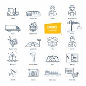 Logistics thin line icons, pictogram and symbol set. Icons for delivery, logistics. Packing, shipping, transportation, tracking, parcel. Transport service employees buildings Vector illustration poster