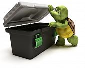 3D render of a Tortoise with toolbox poster