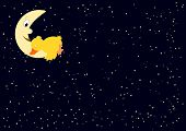 tired duck on the moon - many stars poster